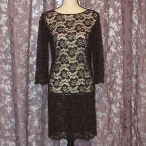 Dresses & Skirts - Vintage Dark Brown Lace Dress, Sheer Sheath / 6/8